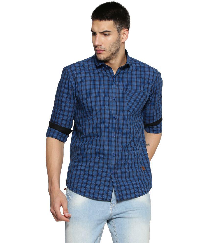 CampusSutra Blue Regular Fit Shirt Single