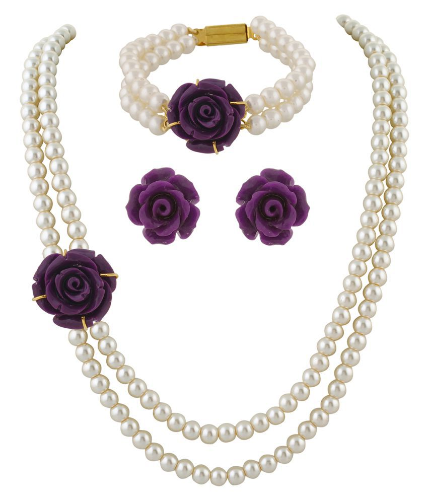 ClassiqueDesigner Jewellery Purple Rose Pearl Set with Bracelet
