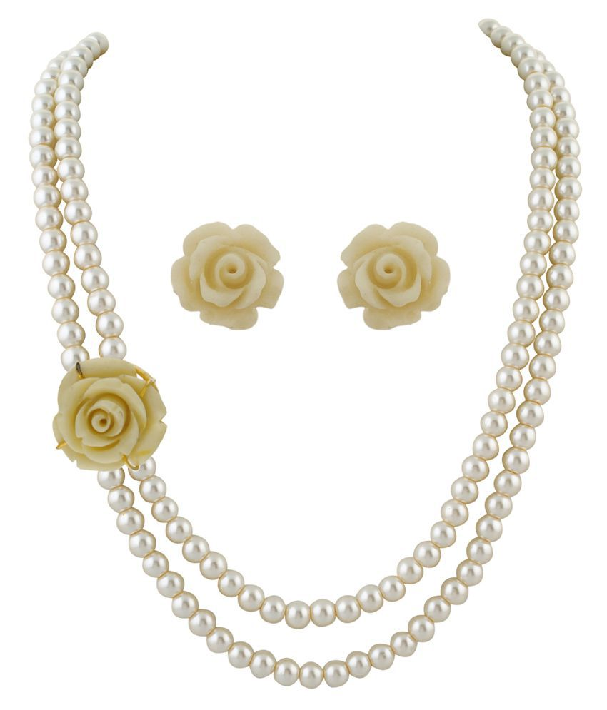 \nClassiqueDesigner Jewellery White Rose Pearl Set