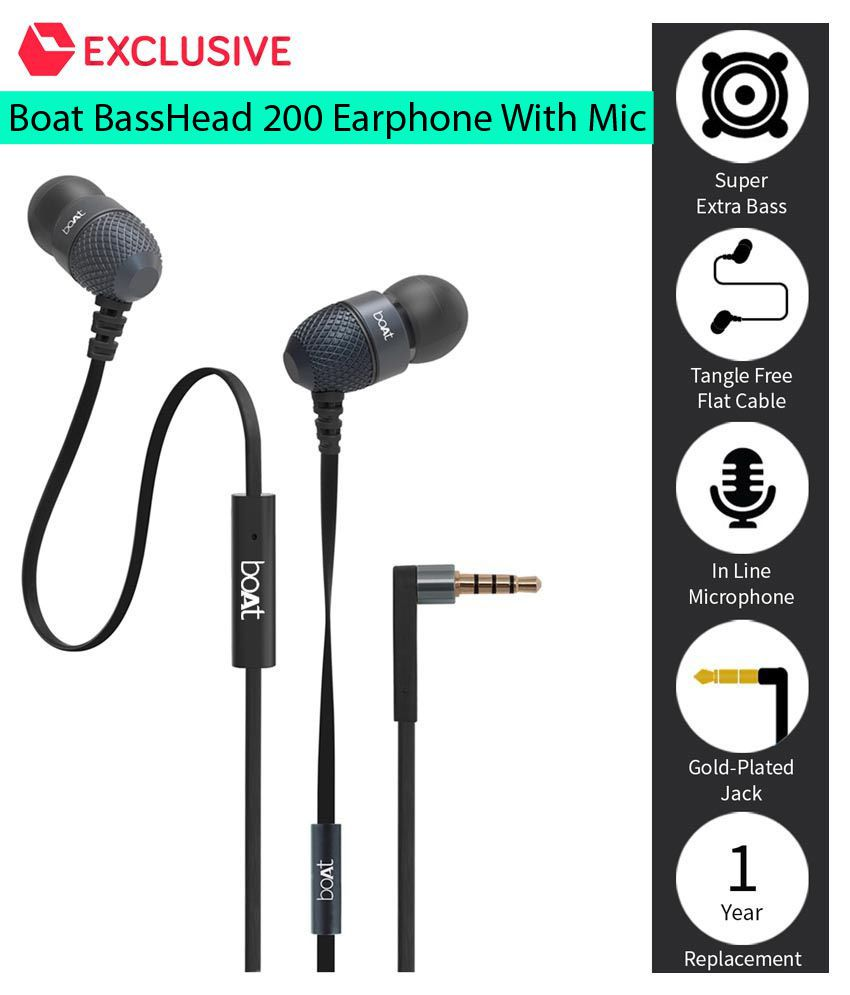58793a63928 Buy boAt BassHeads 200 Extra Bass In Ear Wired Earphones With Mic Black on  Snapdeal | PaisaWapas.com