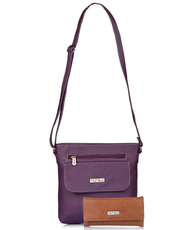 Fostelo Purple P.U. Shoulder Bag