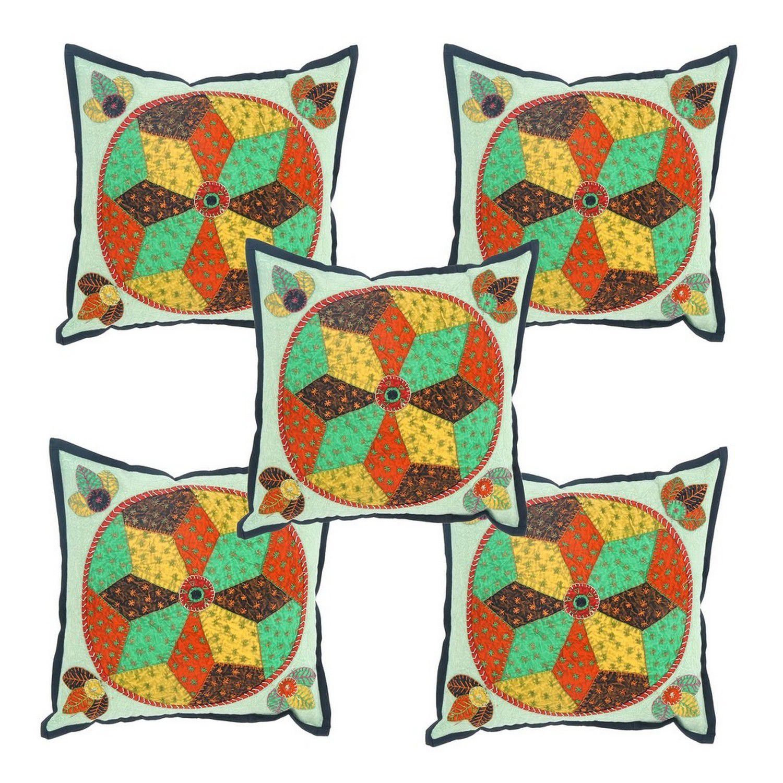 Jaipur Textile Hub Set of 5 Cotton Cushion Covers 40X40 cm (16X16)