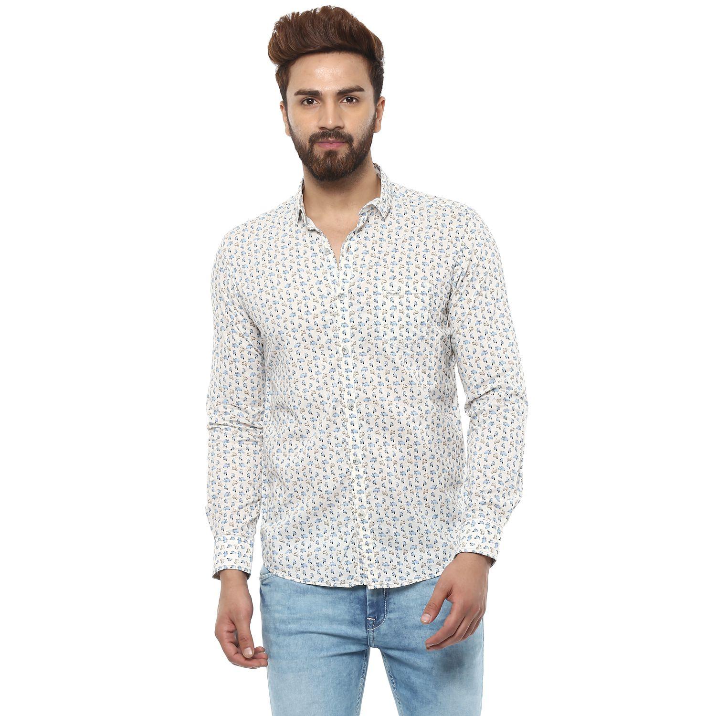 Mufti Off-White Slim Fit Shirt