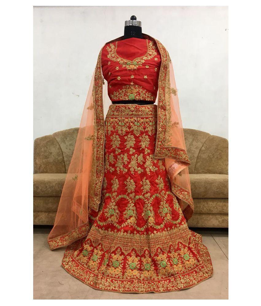6991ef365b ... Isha Enterprise Brown and Red Bangalore Silk Semi Stitched Lehenga
