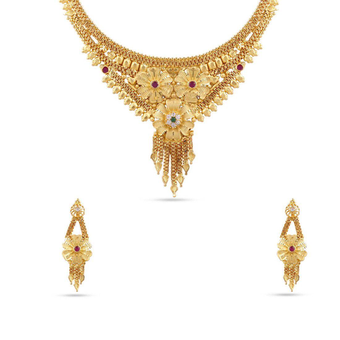 Maalyaa Brass Gold Plated Short Necklace Set for Women & Girls