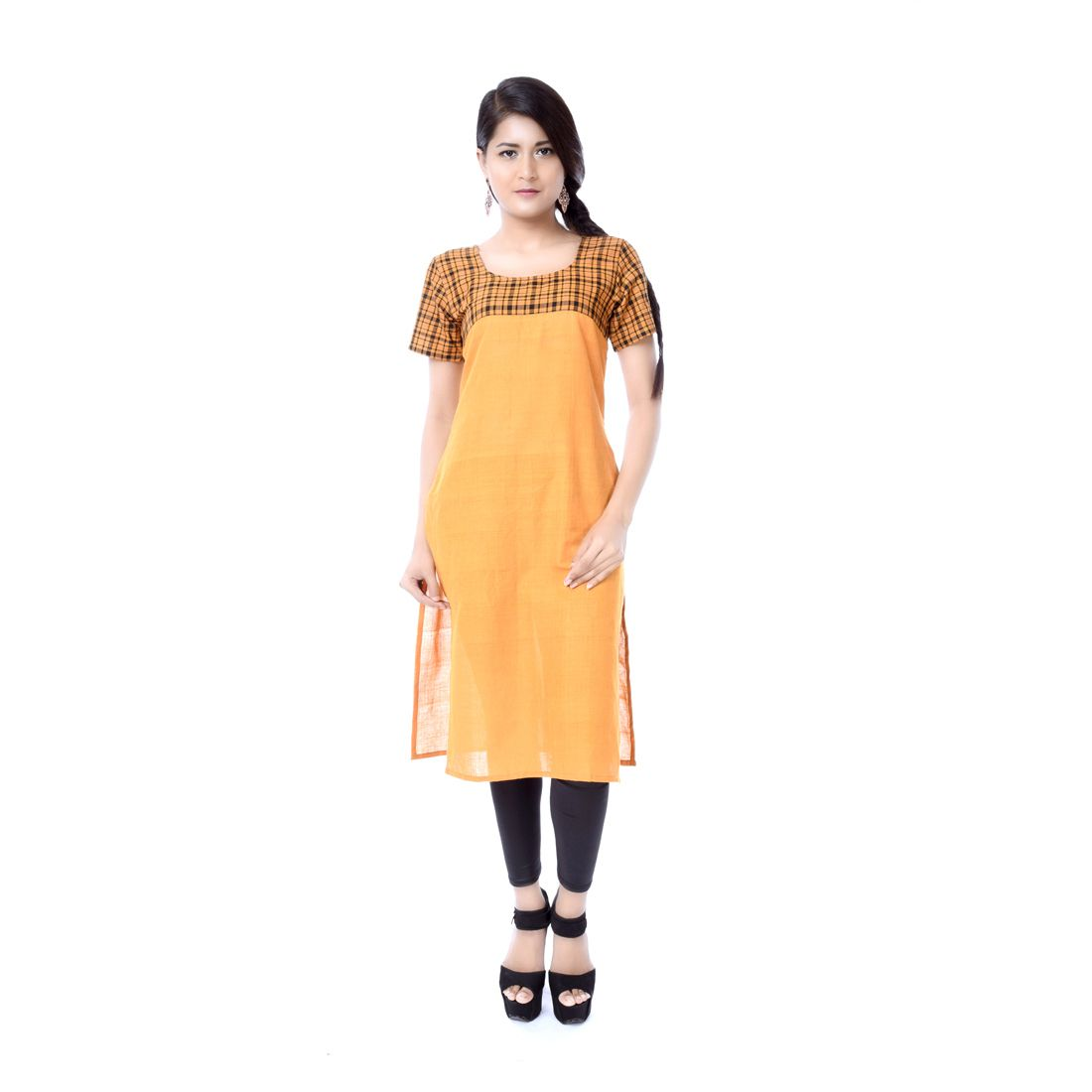 Trenditional yellow Cotton Straight Kurti