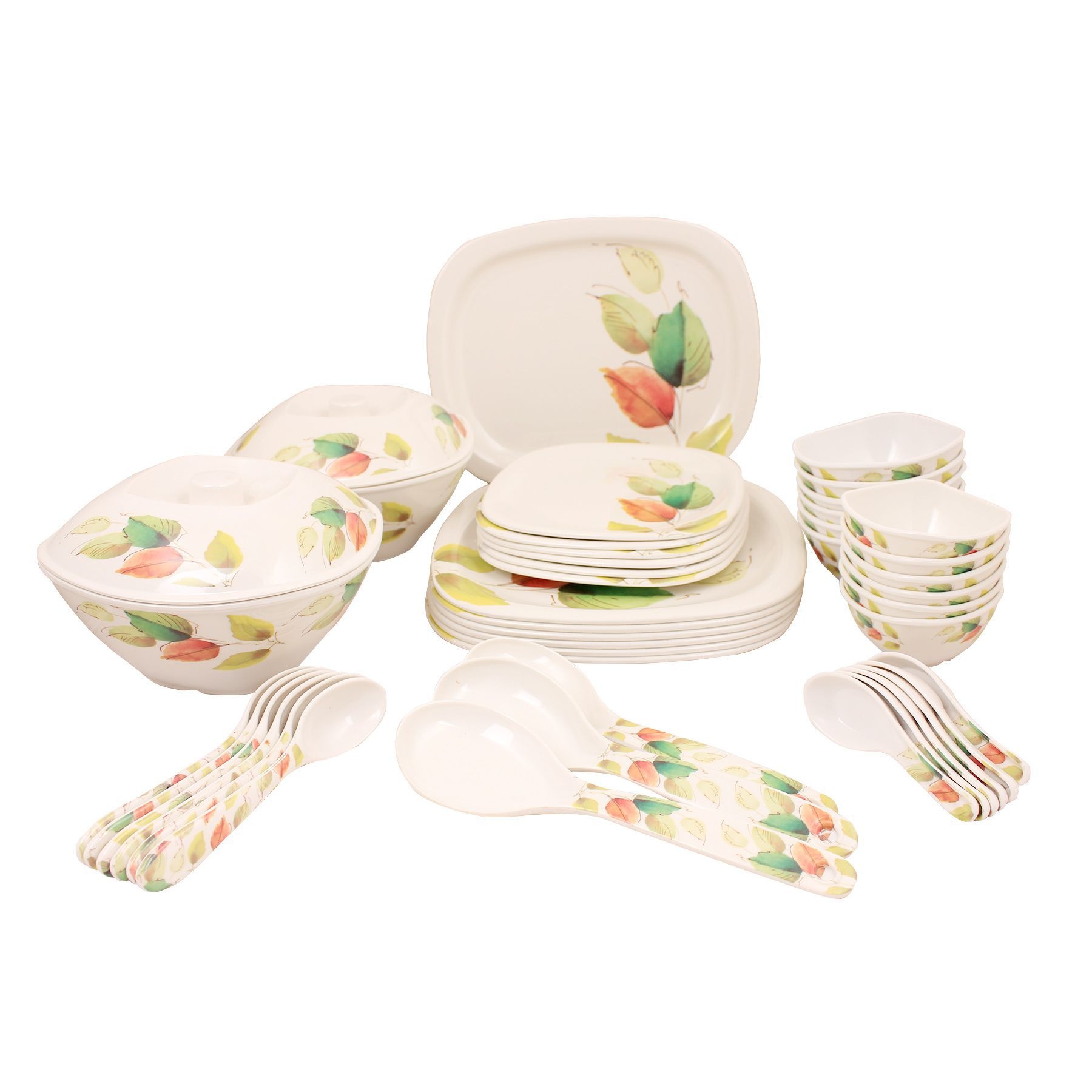 WHITE GOLD WGSQ44-LEF Melamine Dinner Set of 44 Pieces