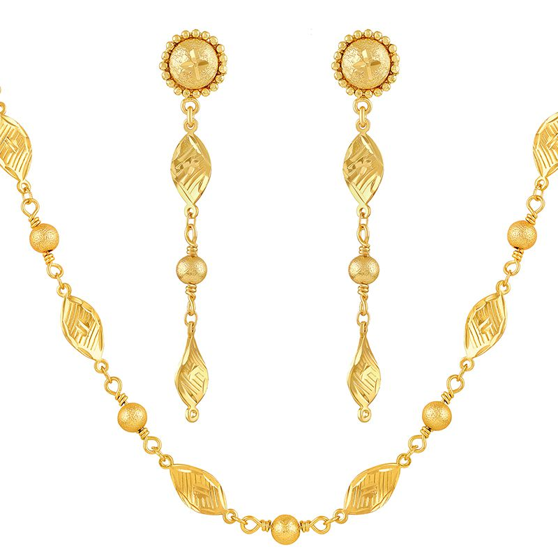 Asmitta Traditional Leaf Shape Gold Plated Opera Style Necklace Set For Women