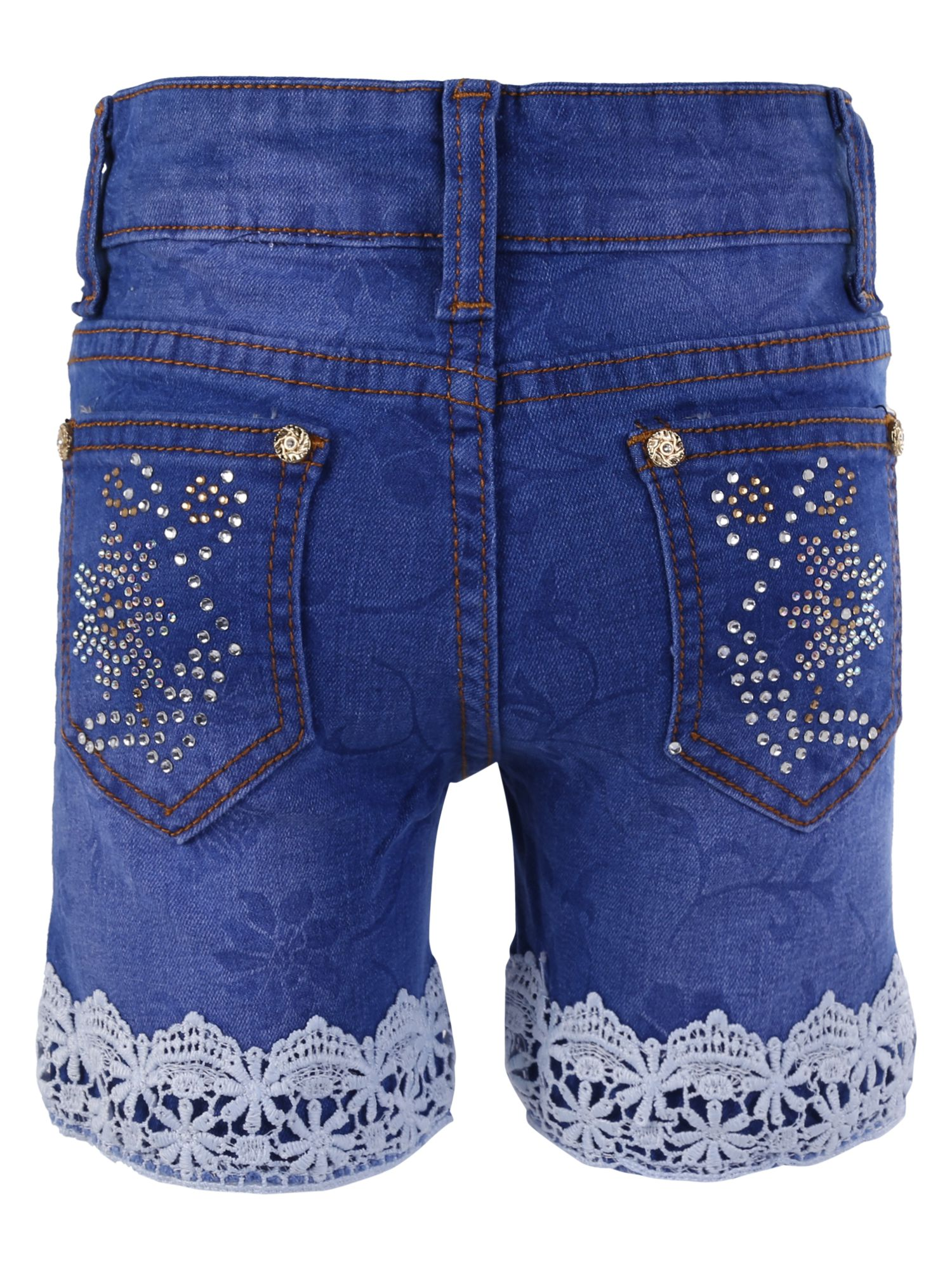 Blisara Girls Blue Denim Embedded Lace Design Short Jeans (Size Suitable for 3 to 4 years)