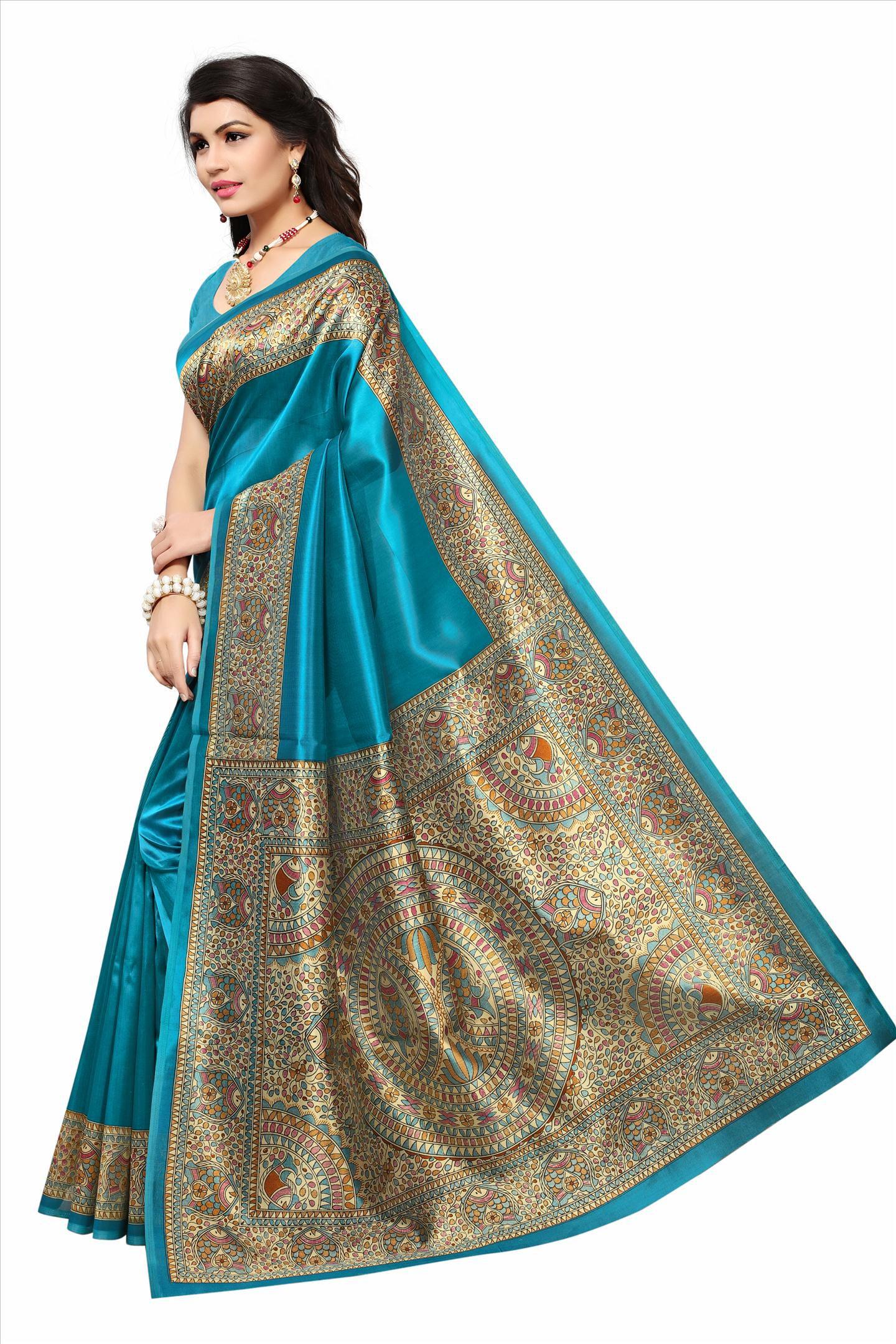 Hari Villa Creation Cyan Cotton Silk Saree