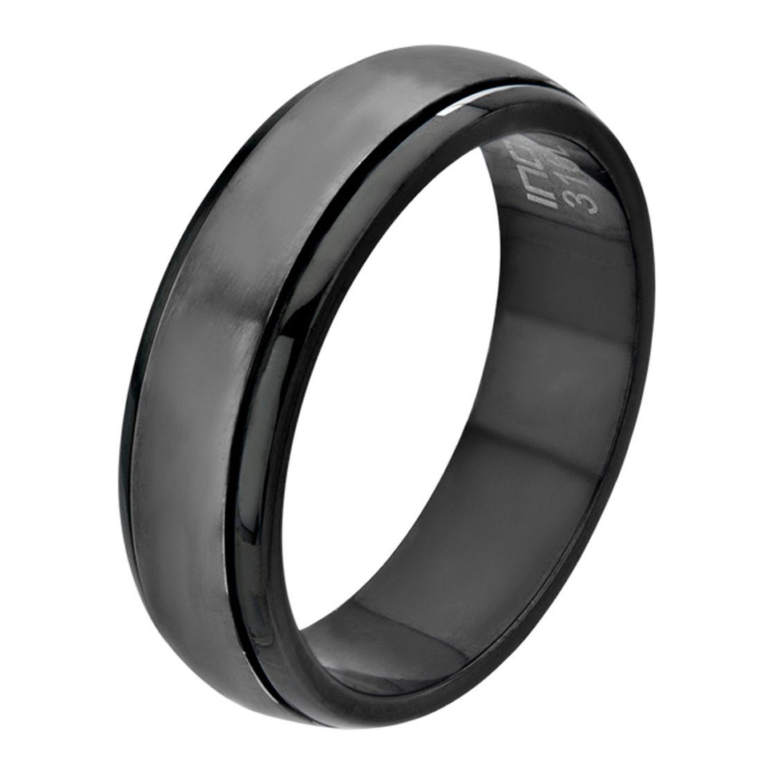 Inox Jewelry Black Stainless Steel Classic Spinner Ring