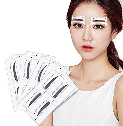 FOK 12 Pair Eyebrow Card Shaping Stencil Sticker Brow Eyebrow Kit BLACK 12 gm