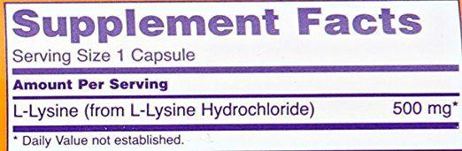 Now Foods L-lysine 500 mg Capsule 1 gm