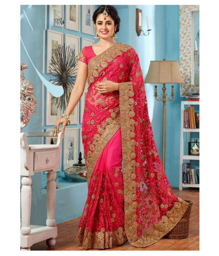 Zofey Bollywood Designer Sarees Pink and Red Net Saree ...