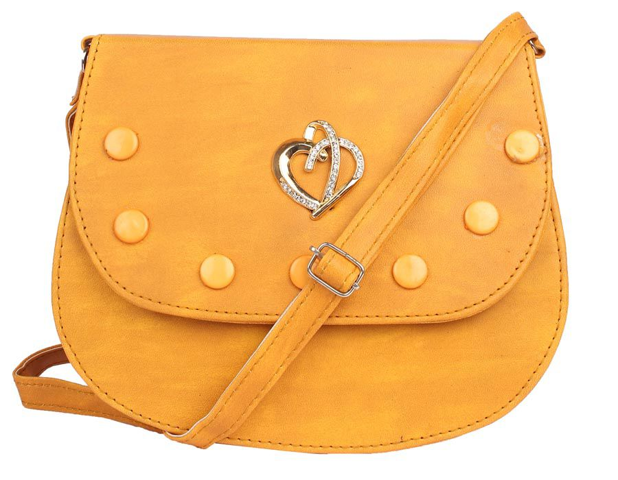 Aliado Yellow Faux Leather Sling Bag