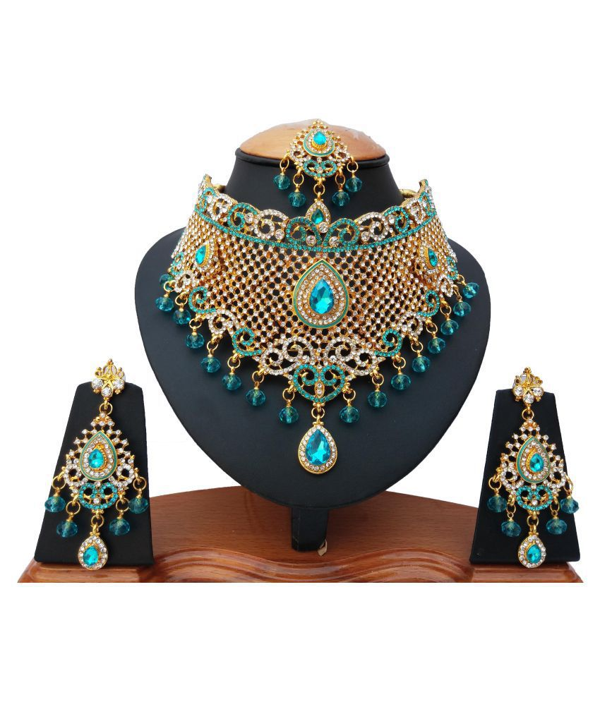 Finekraft Kundan Zircon Wedding Designer Choker Necklace Jewelry Set