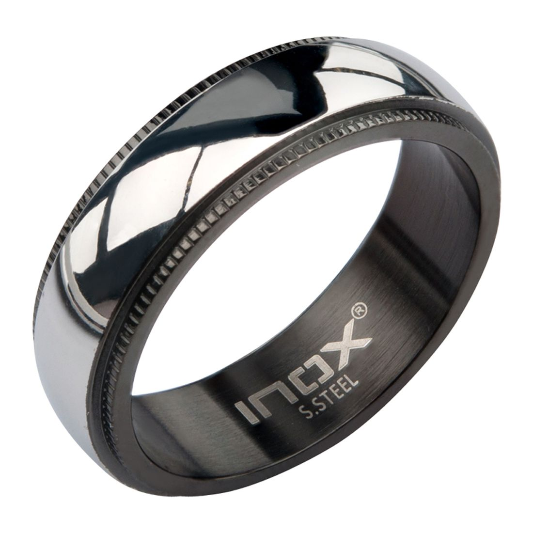 Inox Jewelry Black and Silver Stainless Steel Fancy Border Glossy Band