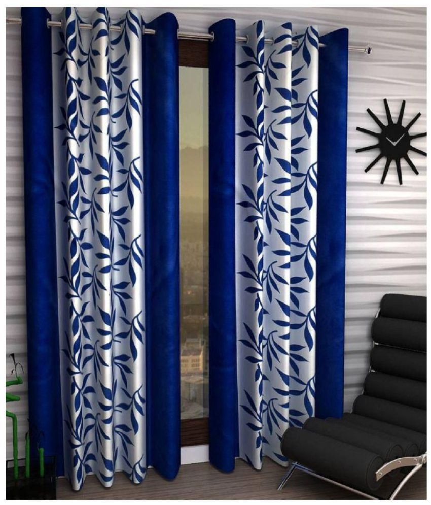 Tanishka Fabs Set of 2 Door Blue Eyelet Curtains Floral Multi Color