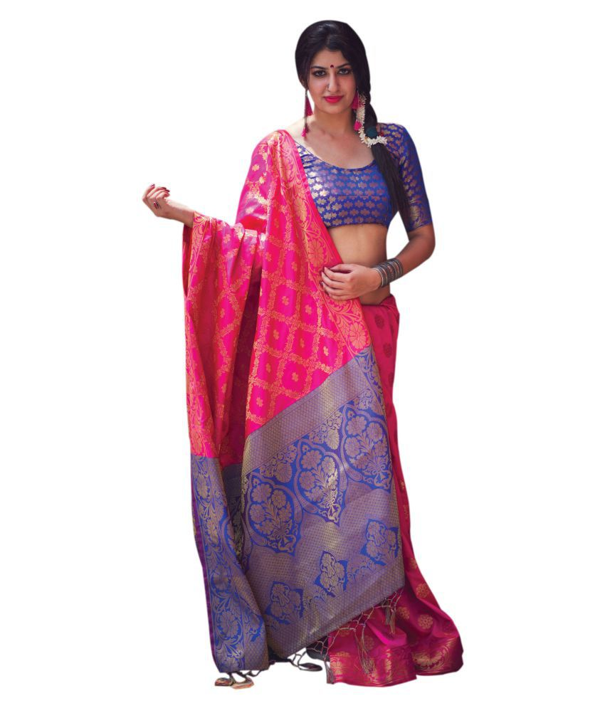 ac6ff31f6f Vastrang Pink and Purple Silk Saree - Buy Vastrang Pink and Purple Silk  Saree Online at Low Price - Snapdeal.com