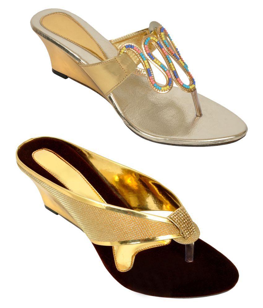 Altek Gold Wedges Heels