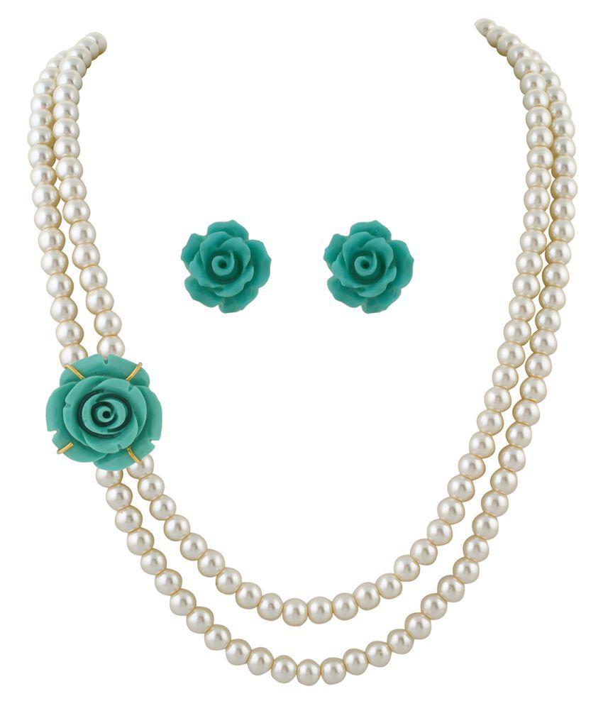 ClassiqueDesigner Jewellery Blue Rose Pearl Set