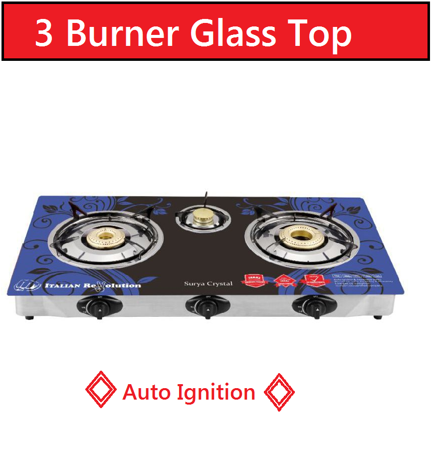 Surya Crystal SCR103B 3 Burner Auto Gas Stove ( Design May vary as per stock Availability)