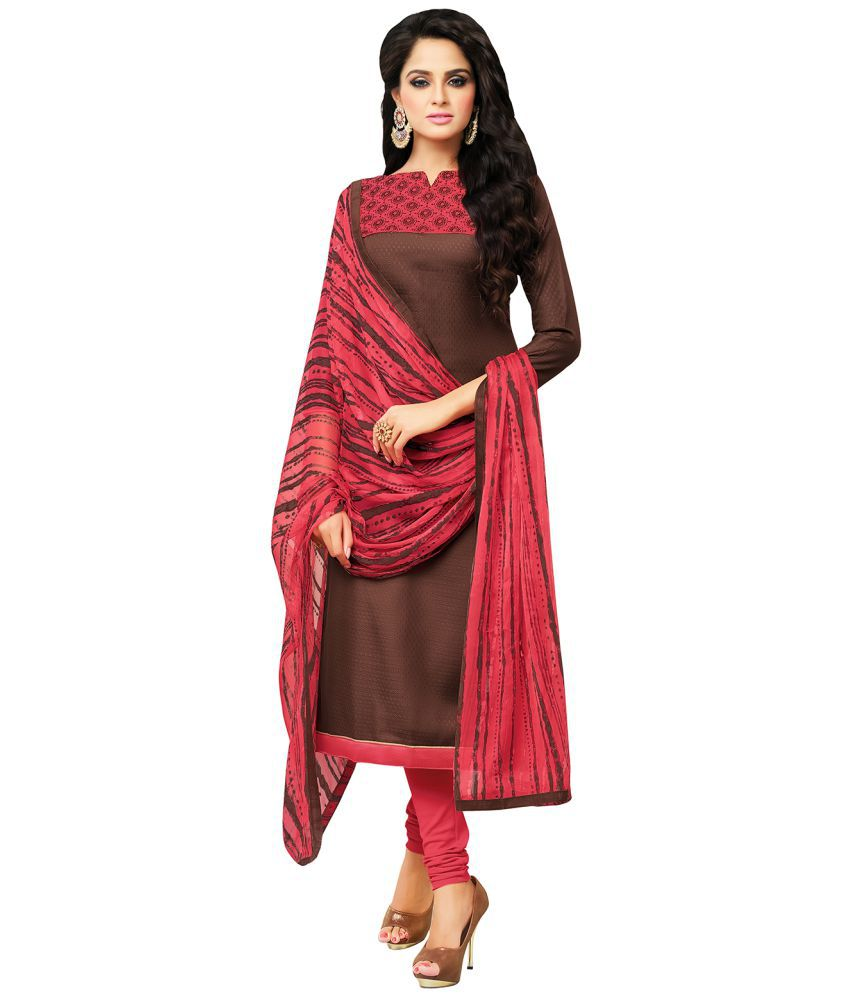 Apple Creation Brown Cotton Blend Dress Material