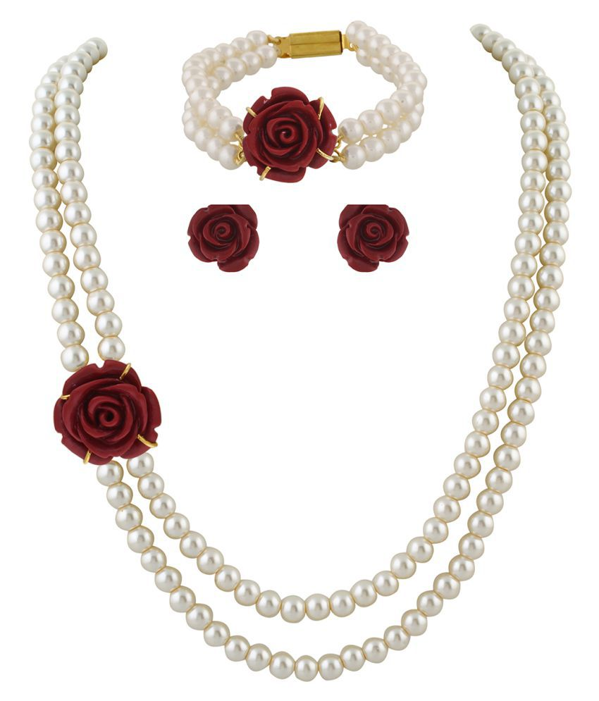 ClassiqueDesigner Jewellery Red Rose Pearl Set with Bracelet