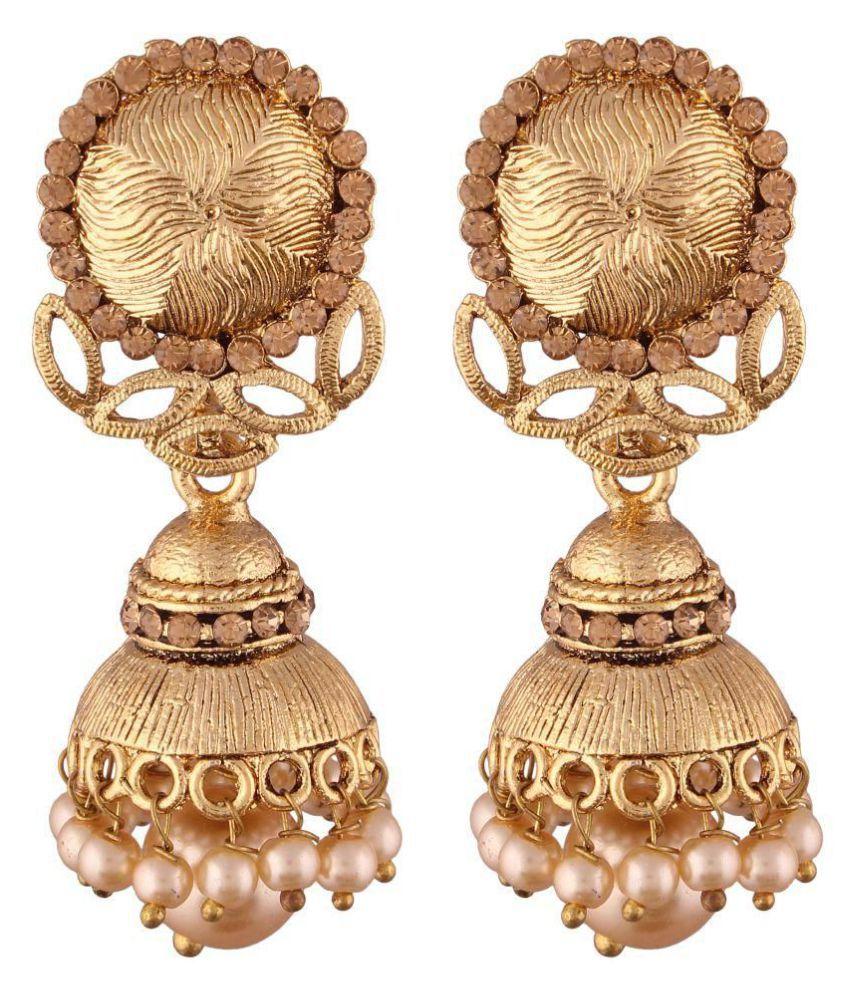 I Jewels Gold Plated Jhumki Earrings for Women (E2487FL)