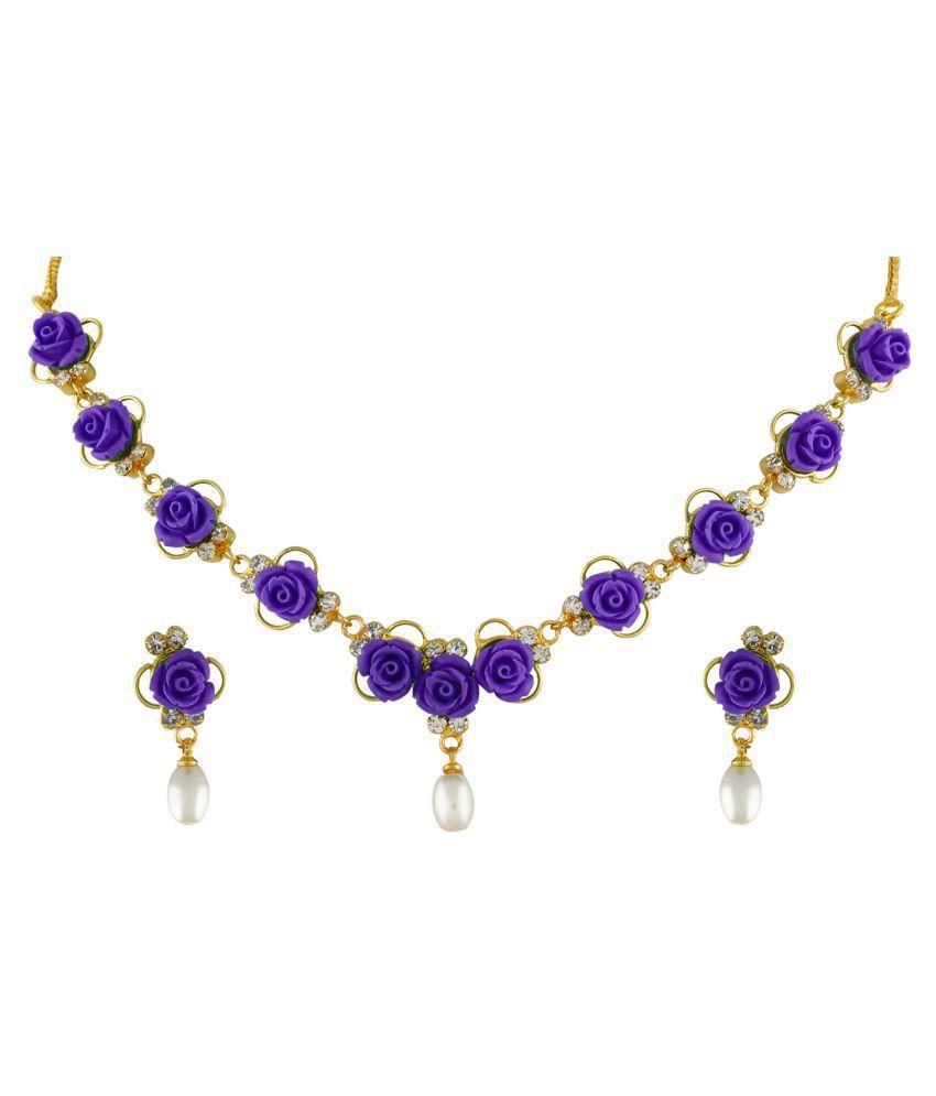 ClassiqueDesigner Jewellery Purple Color Flower Necklace Set
