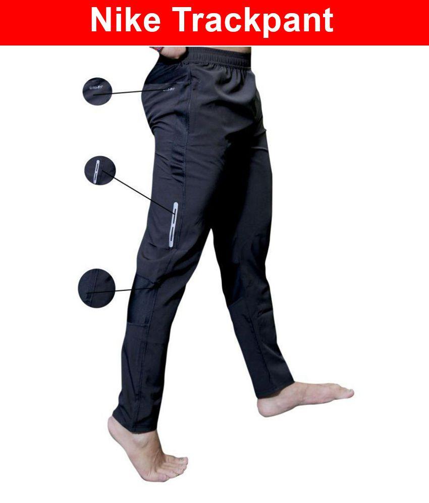 Nike Black Polyester Lycra Gymwear Trackpants