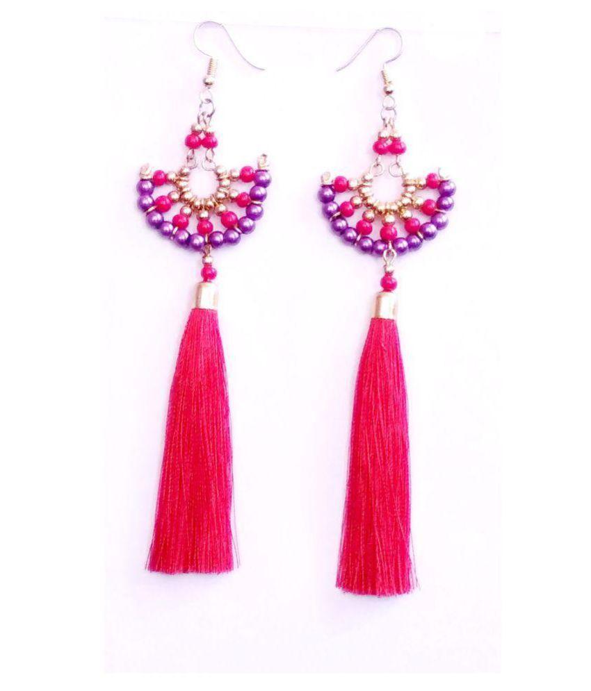 Zurii Red tassel& bead drop earring