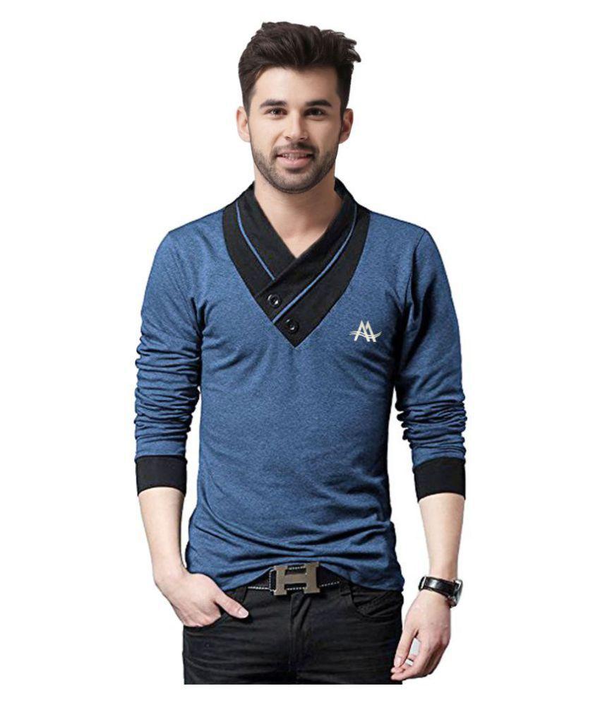 AD & AV Blue V-Neck T-Shirt Pack of 1