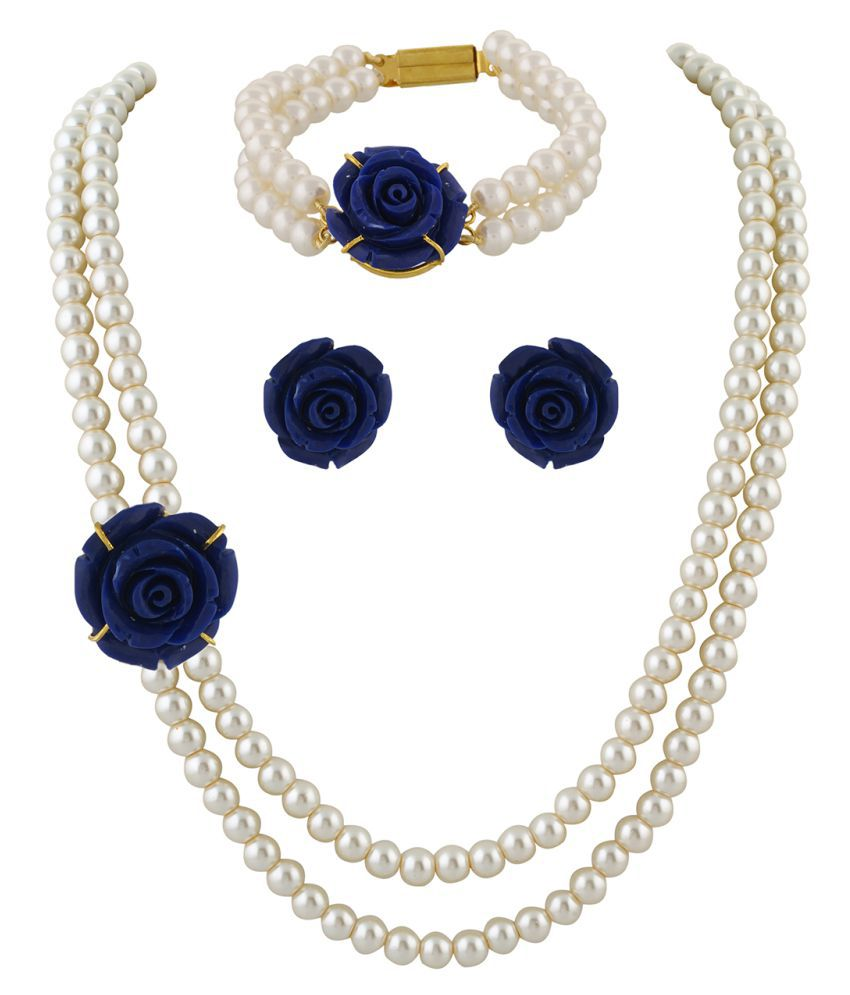 ClassiqueDesigner Jewellery Dark Blue Rose Pearl Set with Bracelet