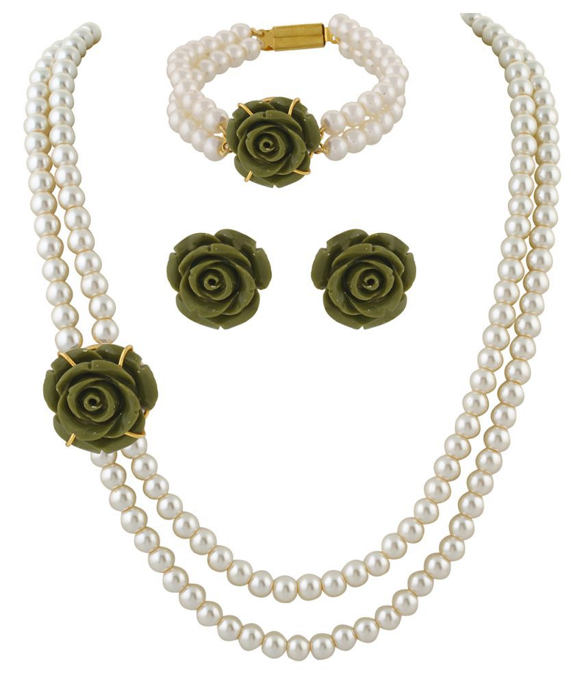 ClassiqueDesigner Jewellery Green Rose Pearl Set with Bracelet