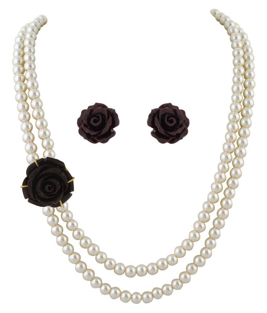 ClassiqueDesigner Jewellery Brown Rose Pearl Set