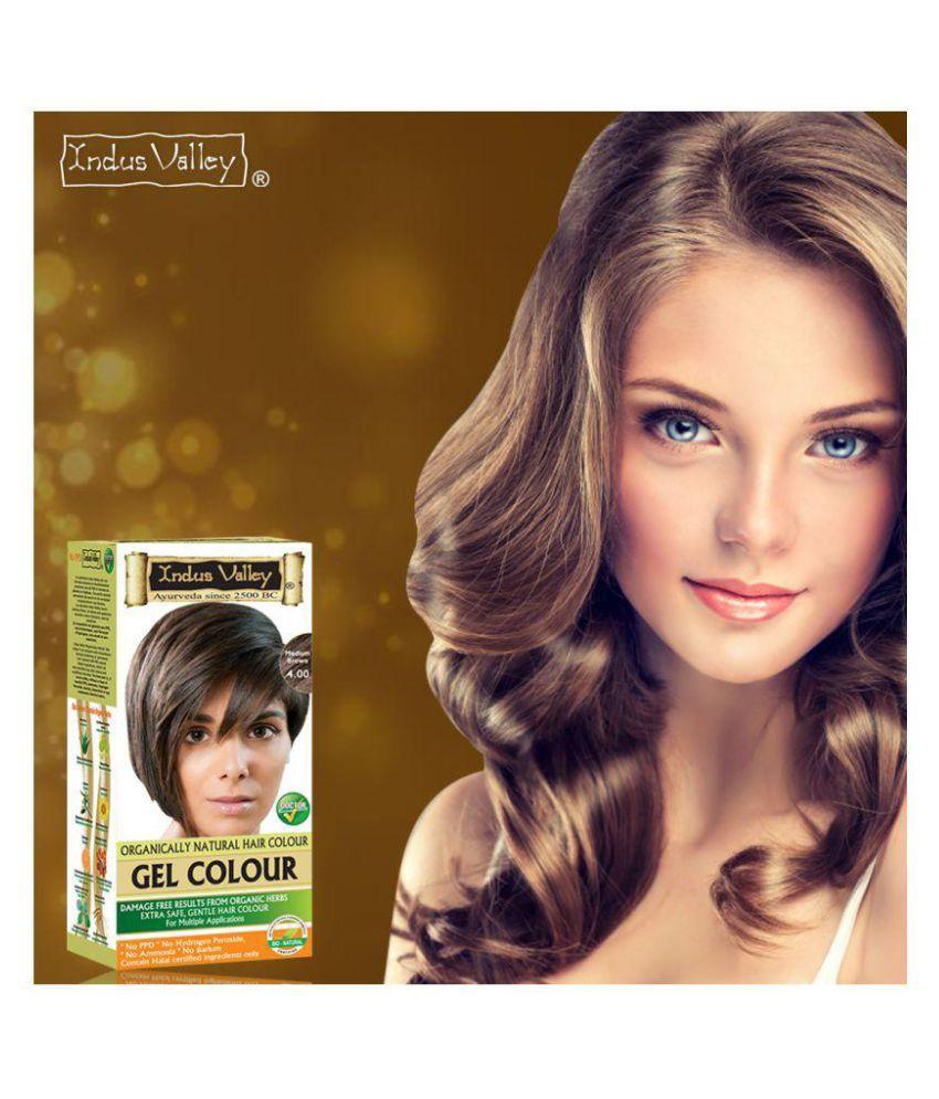 Indus Valley Organically Natural Gel Medium Brown Hair Dye For Grey