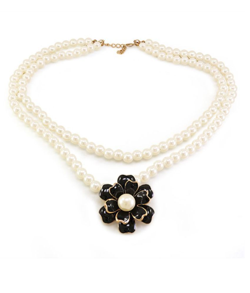 Diva Double Pearl Design Necklace For Girls Womens