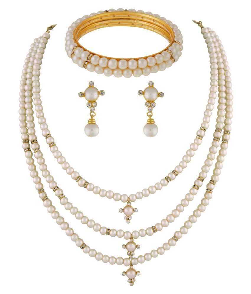 ClassiqueDesigner Jewellery Gold Plated Pearl Set with Bangles