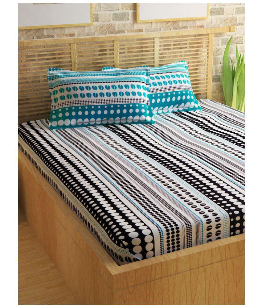 Queen Cotton Cotton Double Bedsheet with 2 Pillow Covers