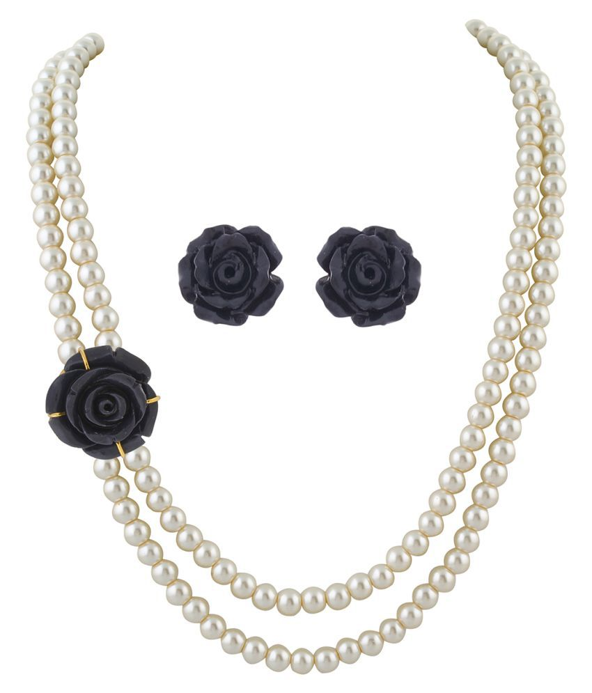 \nClassiqueDesigner Jewellery Black Rose Pearl Set