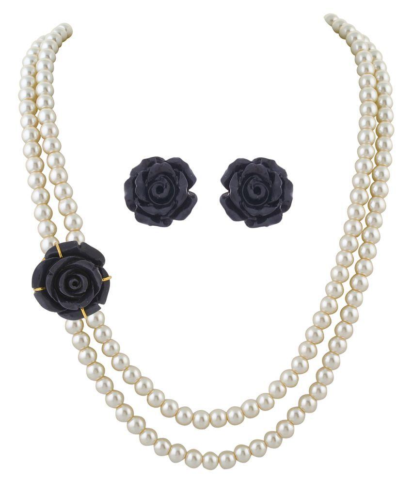 \nClassiqueDesigner Jewellery Black Rose Pearl Set
