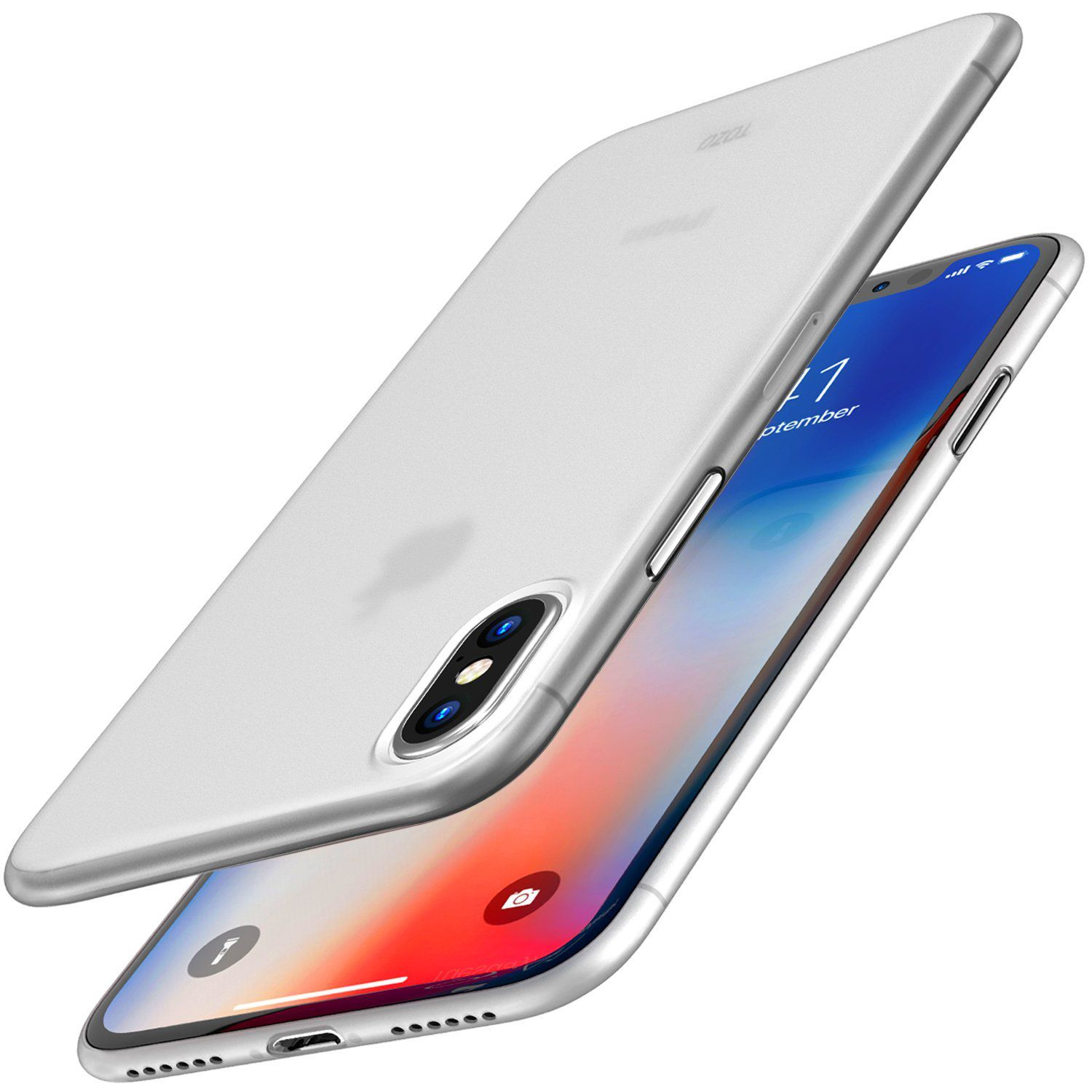 TOZO for iPhone X Case PP Ultra Thin [0 35mm] World s Thinest Protect Hard Case [ Semi transparent ] Lightweight [Matte White]
