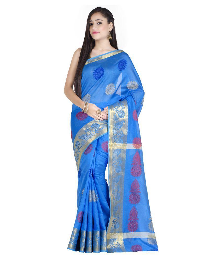 Chandrakala Blue Art Silk Saree