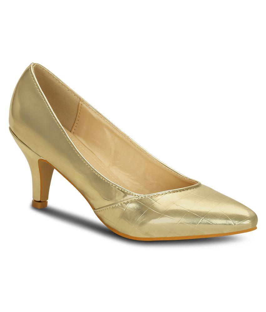 Get Glamr Gold Kitten Heels