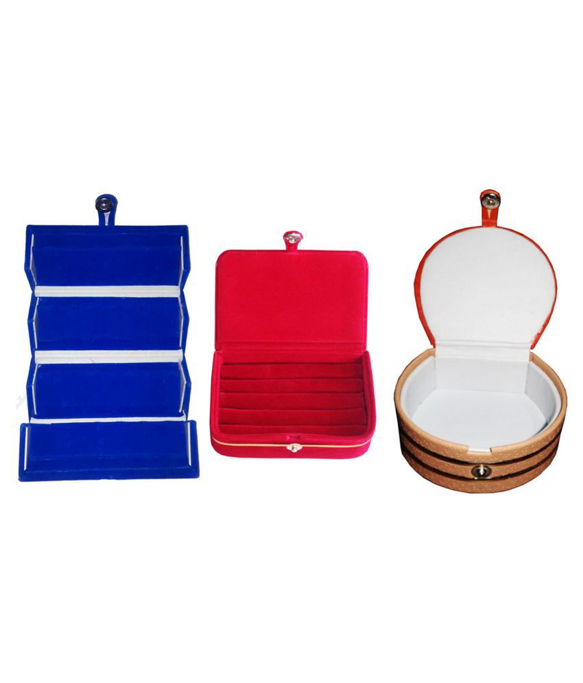 Combo 1 pc blue earring folder  1 red ear ring box and 1 pc bangle box jewelry vanity case