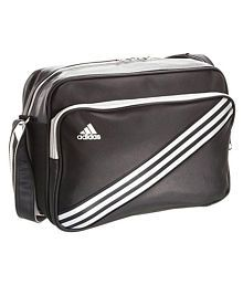 Adidas Black Polyester Casual Messenger Bag