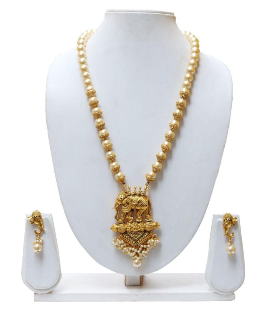a6bab082c5a Lookethnic Antique Gold Plated Elephant Design Artificial Pearl Necklace  Jewellery Set With Earrings