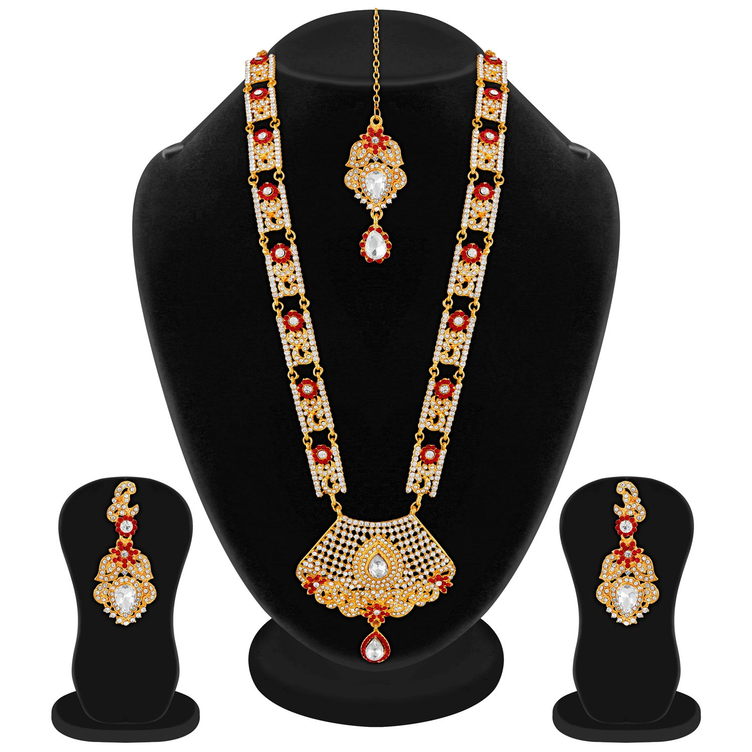 Apara South Indian Wedding Stone Mala Jewellery Set for Women
