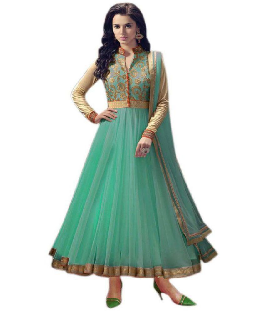 THE 9192 Green and Beige Net Anarkali Semi-Stitched Suit